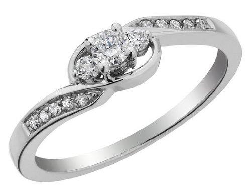 Three Stone Diamond Promise Ring 1/5 Carat (ctw) in 10K White Gold