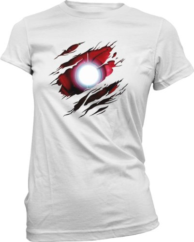 Damen T-Shirt Iron Man - Marvel Comics - Kostüm - Effekt - Weiß - 38/M