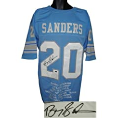Barry Sanders Autographed Hand Signed Detroit Lions Blue Prostyle Jersey w ... by Hall of Fame Memorabilia