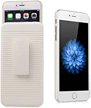 iXCC ® Ascend Series [Kickstand] Slim Hard PC Shell [Heavy Duty] Full Body Protection Slidable Cover Case [ Anti drop, Anti scratch, Anti slip, Anti shock ] with Kick-Stand Feature for Hands-Free Video Watching and Holster clip swivel for iPhone 6 Plus (5.5-inch) [White]
