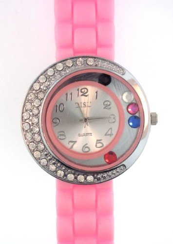 Pink Silicone Rubber Gel Watch Large Face Moving Colored Crystals With Half Crystal Bezel. Band Link Look Ceramic Style