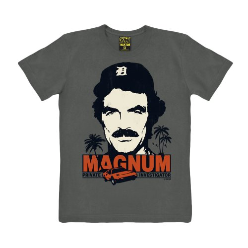 Magnum P.I. - T shirt di Tom Selleck in Ferrari - T shirt della serie TV cult degli anni 80 - Marrone - M