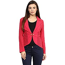 RARE Pink Solid Full Sleeve Women's Jacket