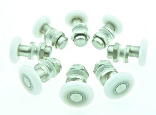 8 x Partiality Shower Door ROLLERS /Runners/Wheels/Pulleys 25mm Wheel diameter L004