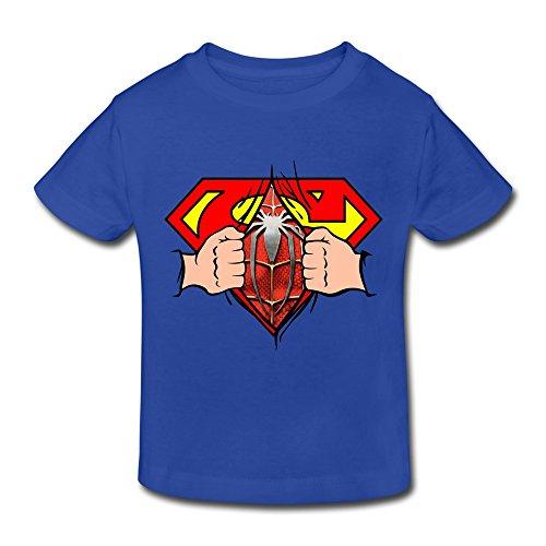 RenHe Toddler Retro Superman Is Spiderman T-shirts Size 3 Toddler RoyalBlue
