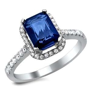 1 50ct Emerald Cut Blue Sapphire Diamond Engagement Ring