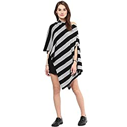 Pluchi Cotton Knitted Poncho Cape Wrap Top Hannah-Black / Lt Grey Melange