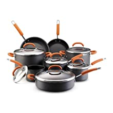 Rachael Ray Hard Anodized 14-Piece Nonstick Cookware Set Orange