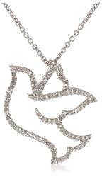 """Sterling Silver 0.05 cttw Diamond Dove Pendant Necklace (1/20 cttw, ), 18"""""""
