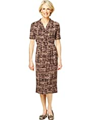Classic Collection Cross Over V-Neck Abstract Print Dress