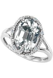 Tommaso Design Oval Genuine White Topaz Ring