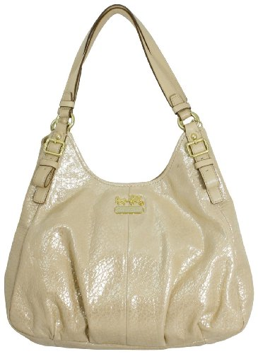 Coach Madison Embossed Metallic Leather Maggie Hobo Handbag 18932 Gold from Coach