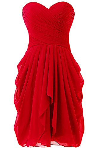 Dressy New Star Women's Chiffon Bridesmaid Dress Short Homecoming Prom Dresses Red US10 (Amazon Short Prom Dresses compare prices)