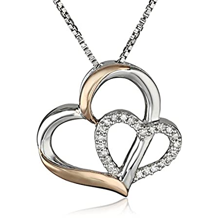 Match her girly and glamorous style with the heartfelt adornments featured on the XPY Sterling Silver and 14k Yellow Gold Double Heart Pendant Necklace. Resting from an 18-inch box chain is sleek pendant design created out of two inter-locking open-h...