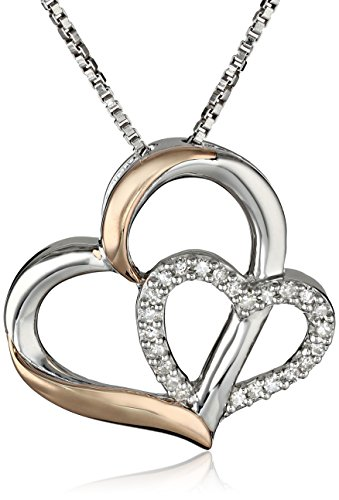 925 Sterling Silver White Cubic Zirconia 0.09 Ct Open Heart Tiny Ring Pendant Necklace 16
