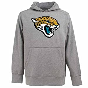 Jacksonville Jaguars Big Logo Signature Hooded Sweatshirt (Grey) by Antigua