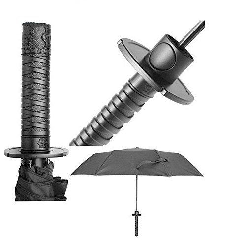 LOHOME (TM) Creative Strong Windproof Folding Semi-automatic Knife Umbrella Stylish Japanese Samurai Ninja Katana Umbrella Special Black Samurai Swords Umbrella
