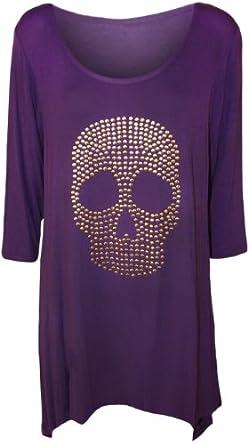 Womens Plus Size Skull Tail Back Dip Hem Ladies Long Scoop Neck Sleeve Top - Purple - 12 / 14