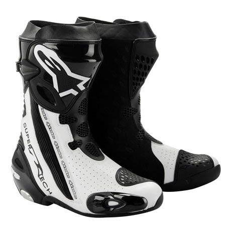 Alpinestars Supertech R Boot with Internal Ankle Brace System , Distinct Name: Black/White, Size: 7.5, Gender: Mens/Unisex, Primary Color: Black 2220012-122-41