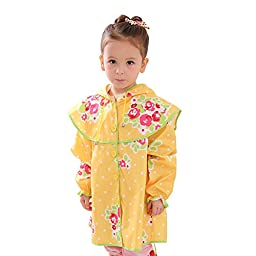 BIKMAN Girl\'s Hooded Raincoat Princess Dress Style Floral Print Rainwear (M(height:39.4\
