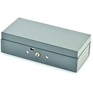 STEELMASTER Locking Steel Bond Box with Cash Tray, Includes Keys, 10.25 x 2.88 x 4.75 Inches, Gray (2212CBTGY)