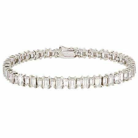 Sterling Silver 11 CTW Total Carat Weight Emerald Cut CZ Tennis Bracelet