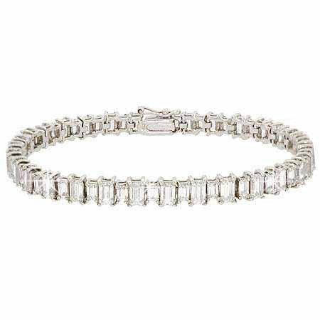 Sterling Silver 11 CTW Total Carat Weight Emerald Cut CZ Tennis Bracelet