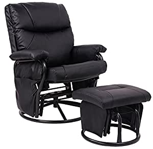 Black pu leather nursing glider rocker - Amazon bedroom chairs and stools ...