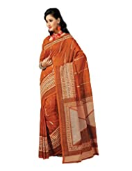 Fabdeal Indian Bollywood Brown Cotton Printed Saree-QBVSR328MR