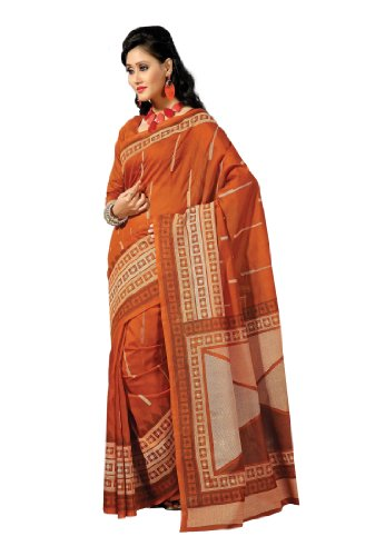 Fabdeal Cotton With Blouse Piece Saree (Qbmsr319Mr _Orange) (multicolor)