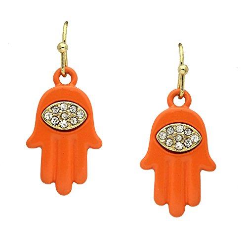 Gold Tone Crystal Rhinestone Evil Eye Orange Hamsa Dangle Earrings