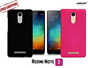 For Redmi Note 3[COMBO OFFER]: Unistuff™ Matte Finish Hard Case Back Cover for Redmi Note 3 [SLIM FIT][FREE SHIPPING] (Black, Pink)