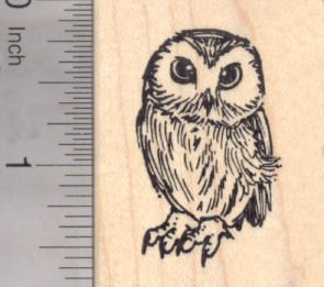 Owl Merchandise - Small Owl Rubber Stamp - Wood Mounted