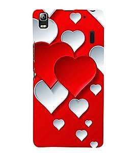 Red White Hearts 3D Hard Polycarbonate Designer Back Case Cover for Lenovo K3 Note :: Lenovo A7000 Turbo