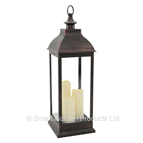 Smart Garden Giant Cream Battery Powered Lantern with 3 Candles in Copper or Cream (Bronze)