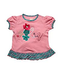 Juscubs Embroided floral and satin patch flower with shiny button combined with contrast all over print at hem and neckline which is envelope with skirt