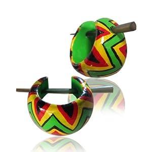 Chic-Net pips wood hoop earrings red yellow green black pin earrings Pin Earrings Wood Horn Pin 16 mm