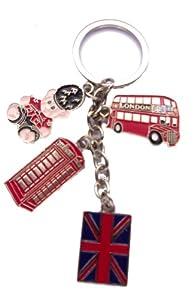 I Love London : Bobble London Bus , Telephone , Teddy Bear & Union Jack Keyring - I Love London Keychain - London Souvenir Keychain