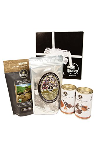Boca Java Roast to Order Coffee, Coffee, Tea & Cocoa Sampler Gift Set - with Ground Coffee