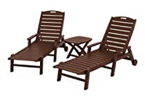 Hot Sale POLYWOOD PWS145-1-MA Nautical 3-Piece Chaise Set, Mahogany