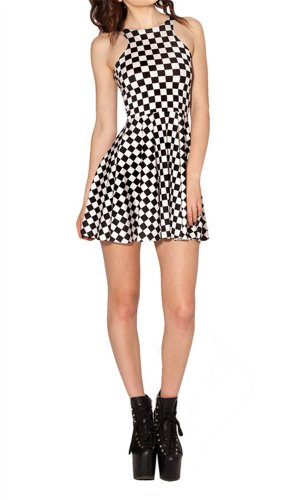 Women'S Pleated Knee-Length Black White Pattern Reversible Skater Dress