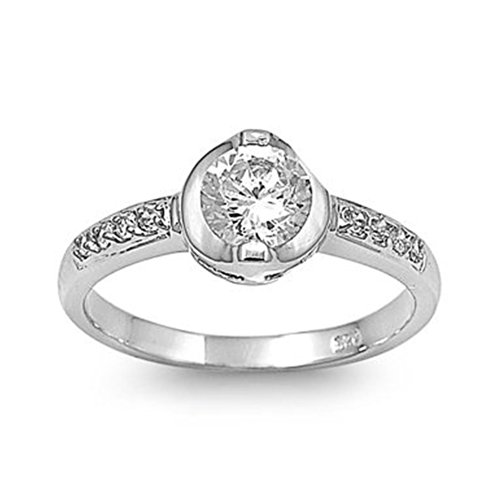 Sterling Silver Engagement Promise Ring With Bezel Set Round Clear Cubic Zirconia Stone - Size5