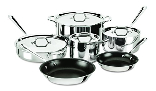 All-Clad 401488 NSR2-R Stainless Steel Tri-Ply Bonded PFOA Free Nonstick Cookware Set, 10-Piece, Silver (All Clad Pan Set compare prices)
