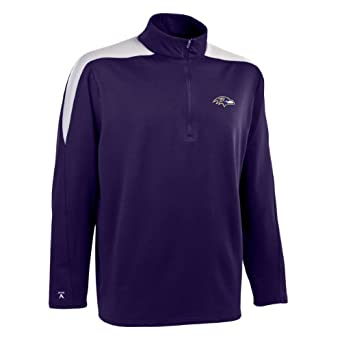 NFL Mens Baltimore Ravens 1 2 Zip Jersey Pullover by Antigua