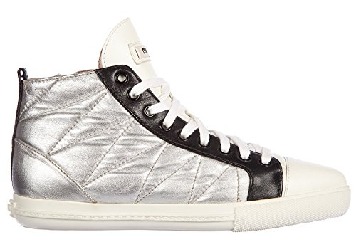 Miu Miu scarpe sneakers alte donna in pelle nuove nappa silk argento EU 36.5 5T9039 3O76 F0QAW