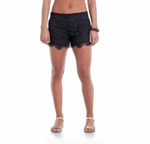 Mallory Crochet Shorts: Black (Black Lace Shorts)