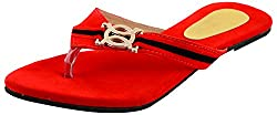 Ganga Footwear Womens Red Synthetic Flip-Flops, UK 7