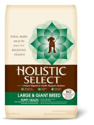 Holistic Select Large and Giant Breed Puppy Health Lamb and Oatmeal Recipe Dry Dog Food, 30-Pound Bag