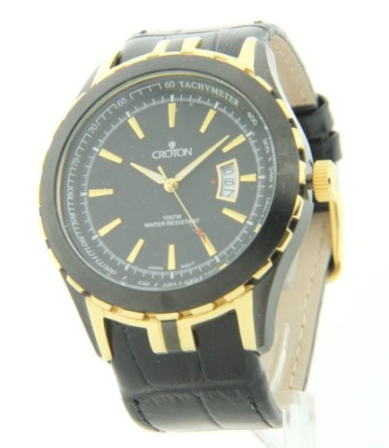 Mens Croton Two-Tone Bezel Tachymeter Date Leather Watch CN307376YLBK