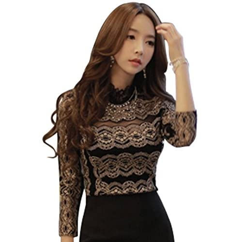 Moonar® Sexy Women Girl Lady Hollow Out Collar Long Sleeve Lace Shirt Blouse Blusas Tops Spring Autumn (UK 12)